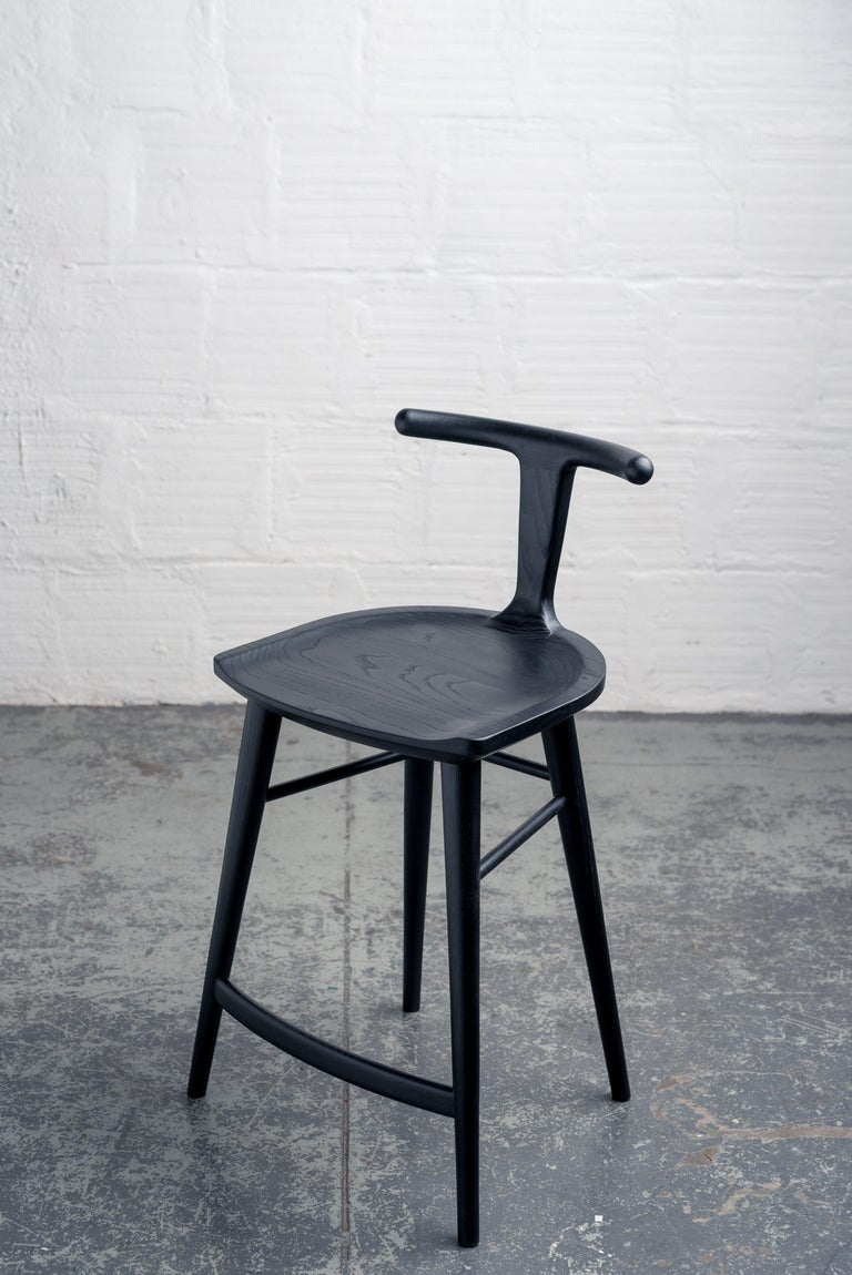 Hand-Crafted Oxbend Stool, Bar or Counter Seat in Black Charcoal Ashwood For Sale
