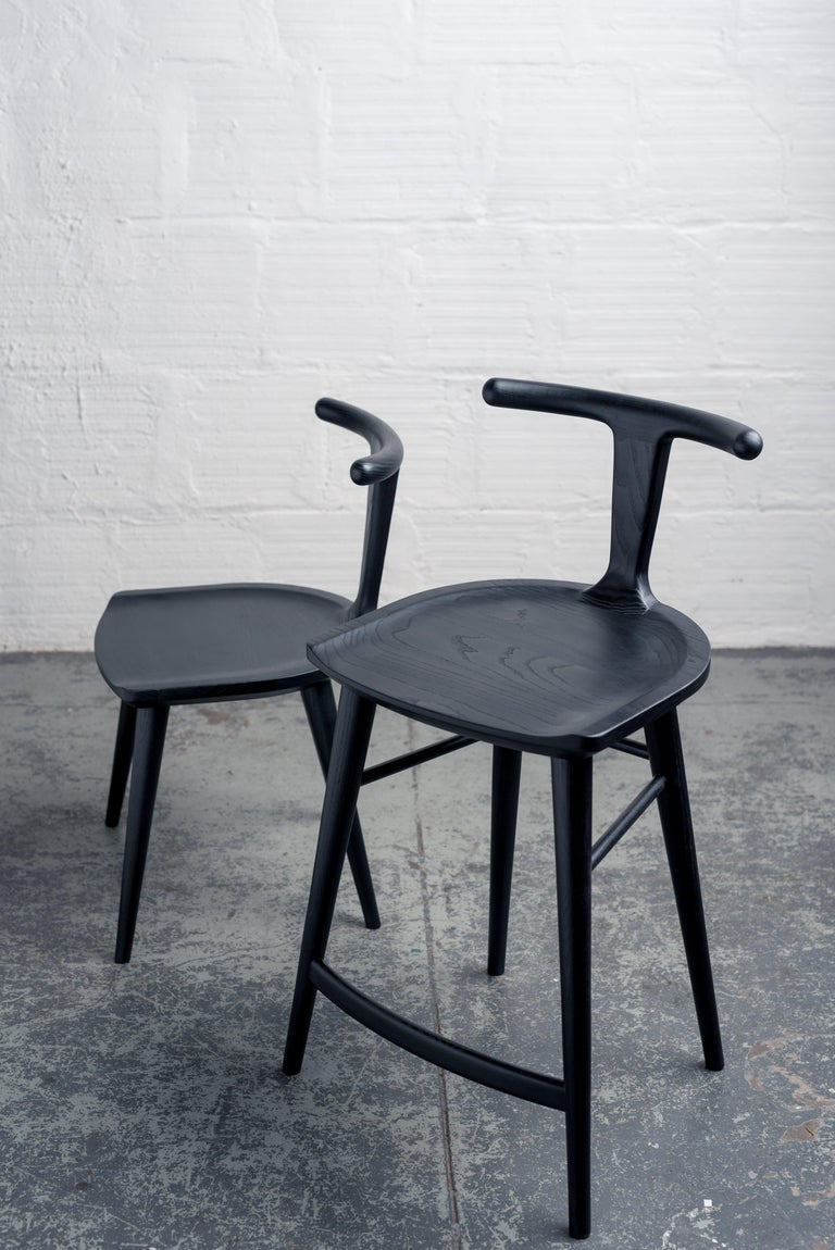 Contemporary Oxbend Stool, Bar or Counter Seat in Black Charcoal Ashwood For Sale