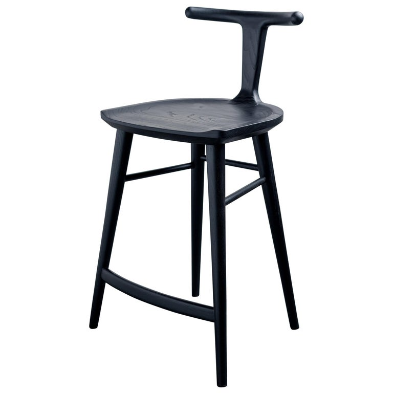 Oxbend Stool, Bar or Counter Seat in Black Charcoal Ashwood For Sale