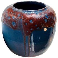Oxblood and Blue Flambé Art Deco Glazed Pottery Vase, Scandinavia, 1936