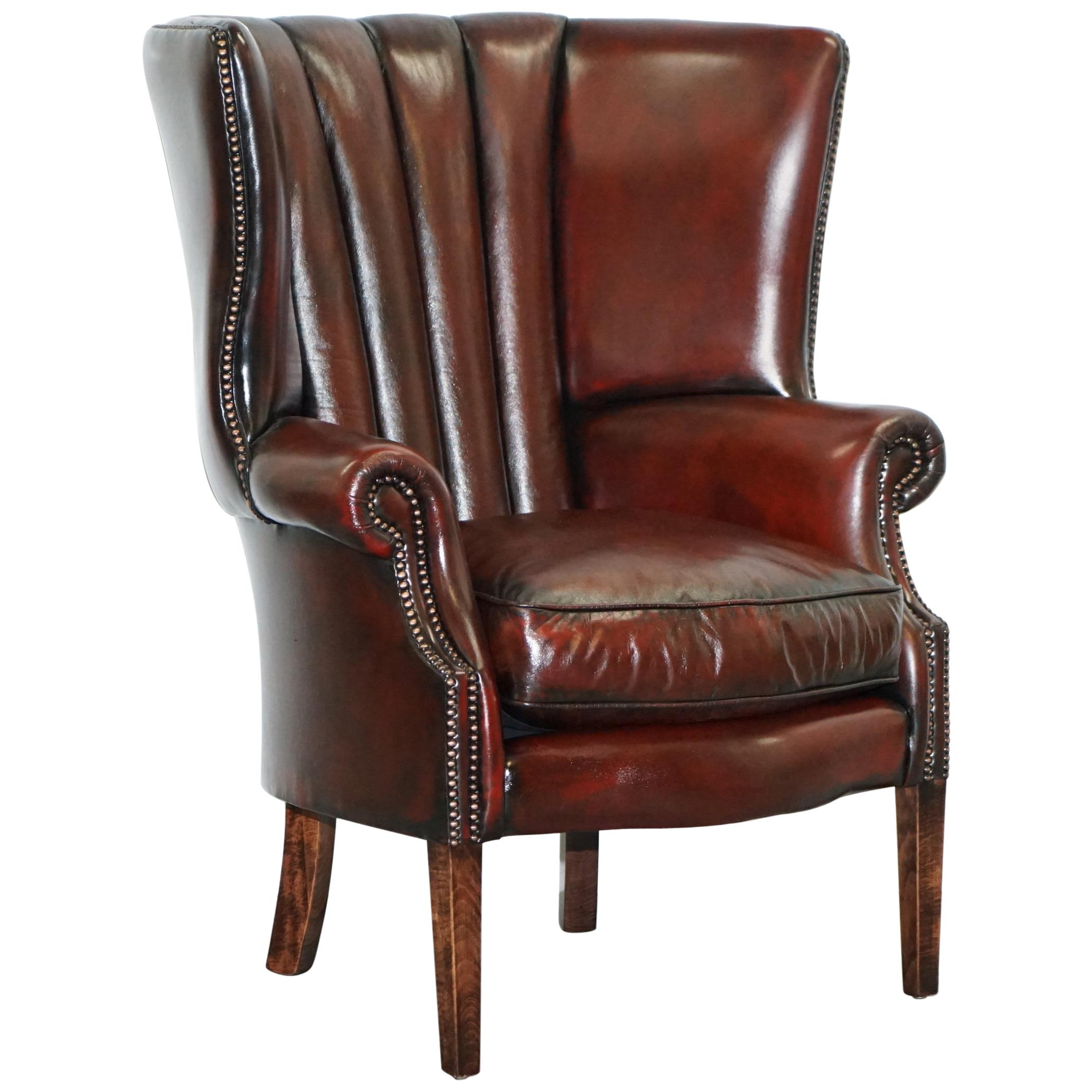 Oxblood Bordeaux Leather Fully Restored Porters Wingback Armchair