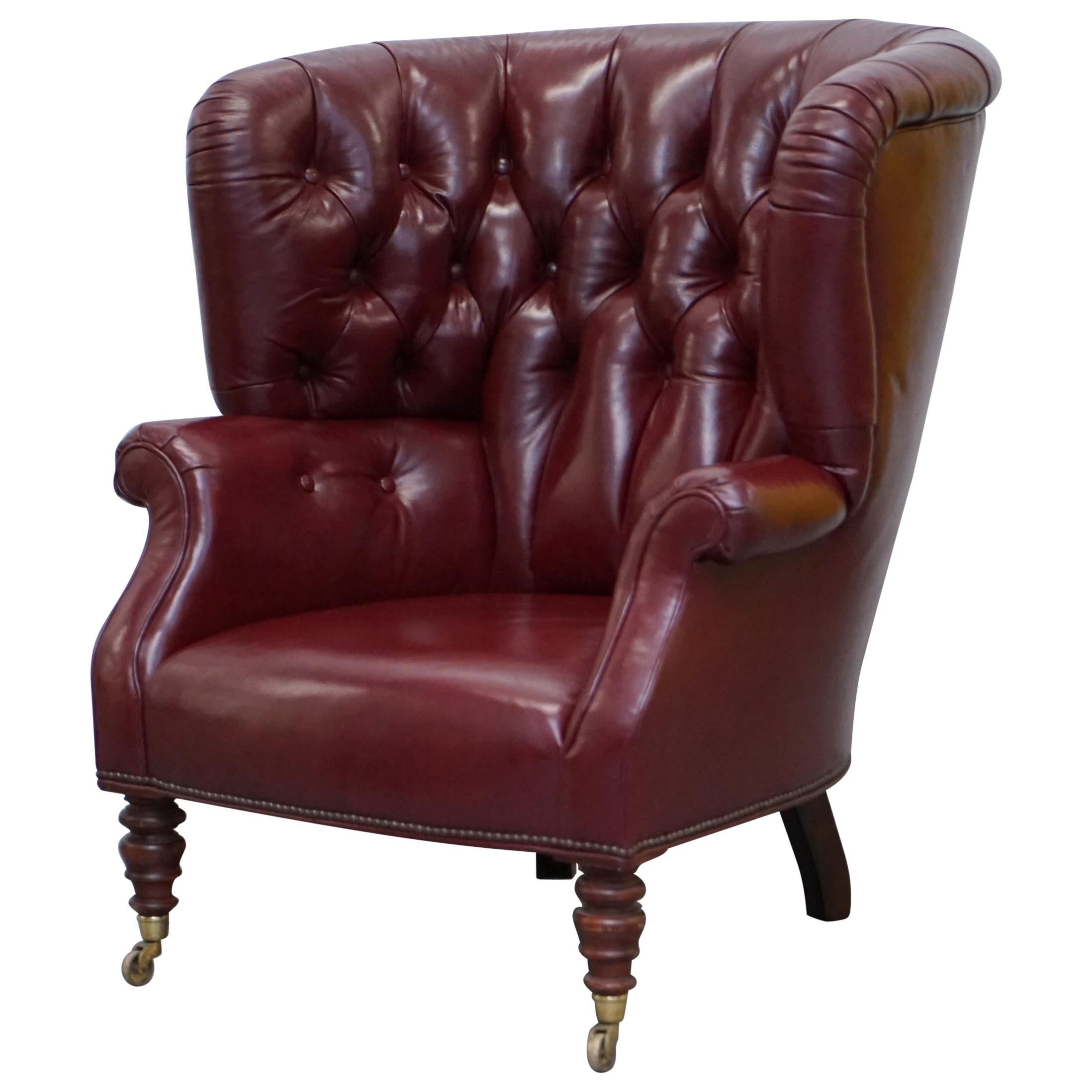 Oxblood Leather Baker Furniture Chesterfield Porters Barrel Armchair