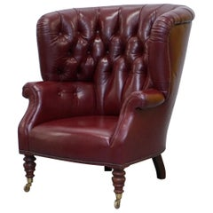 Oxblood Leather Baker Furniture Chesterfield Porters Barrel Armchair