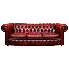 Oxblood Leather Chesterfield Sofa 3-Seat Club Settee