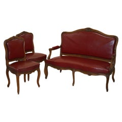 Oxblood Leather French Louis XV Style Salon Suite Walnut Armchairs & Sofa Settee