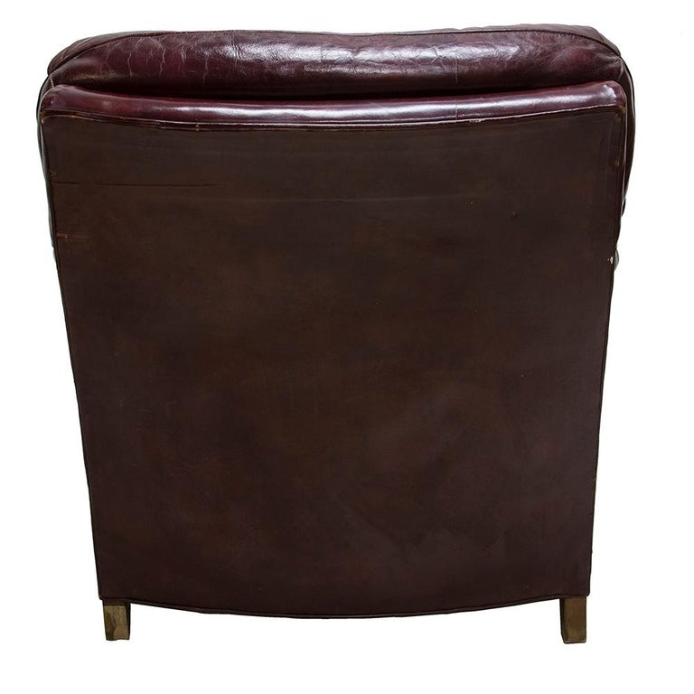 20th Century Oxblood Red Leather Club Chair For Sale