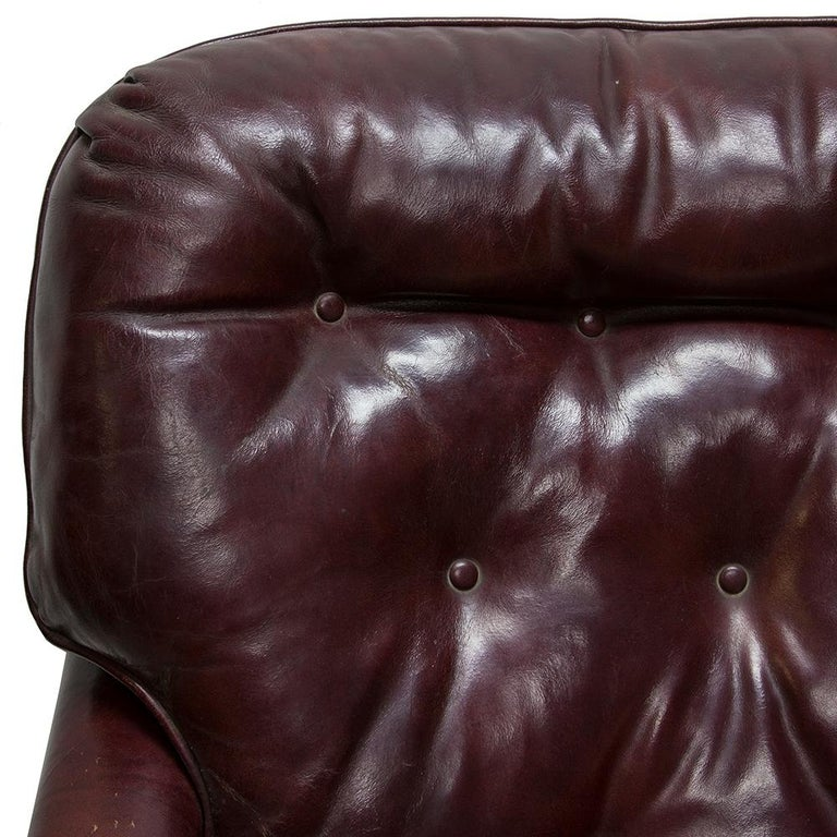 Oxblood Red Leather Club Chair For Sale 2