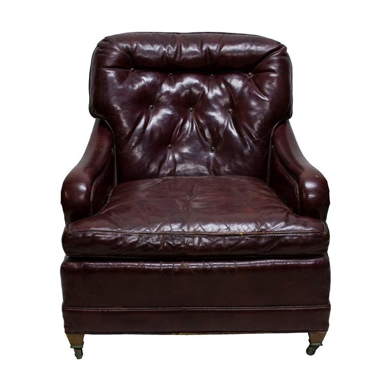 Oxblood Red Leather Club Chair For Sale