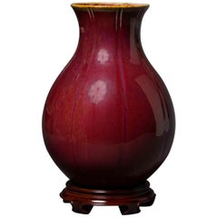 Oxblood Vase with Fluted Design China
