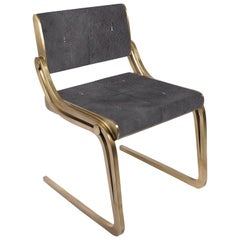 Oxford Chair Black Shagreen and Bronze-Patina Brass by R&Y Augousti