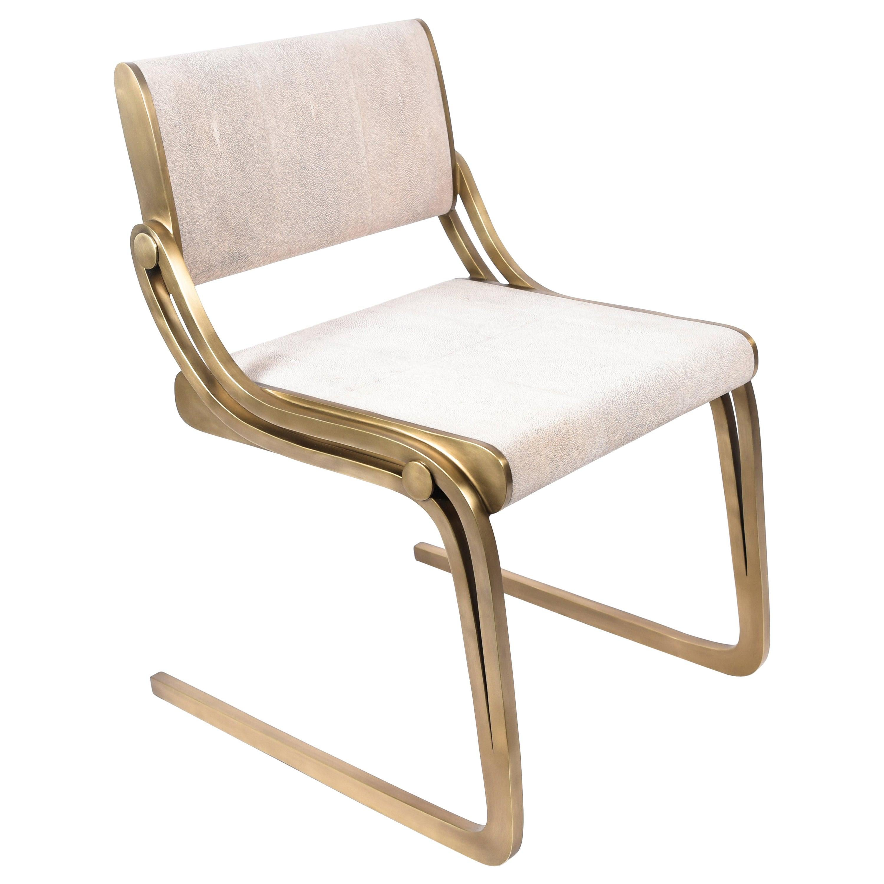 Oxford Chair Cream Shagreen and Bronze-Patina Brass by R&Y Augousti