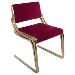 Oxford Chair in Red Velvet and Bronze-Patina Brass by R&Y Augousti