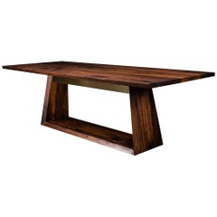 Oxford Dining Table, by Ambrozia, Solid Walnut and Polished Brass