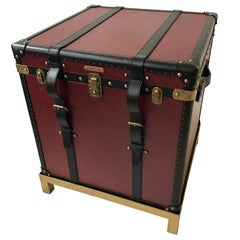Oxford Red Leather Trunk Table