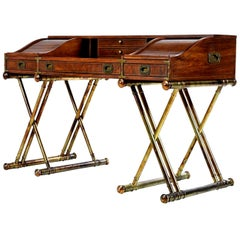 Oxford Square by Drexel Faux Brass Base Campaign Style Tambour Roll Top Desk