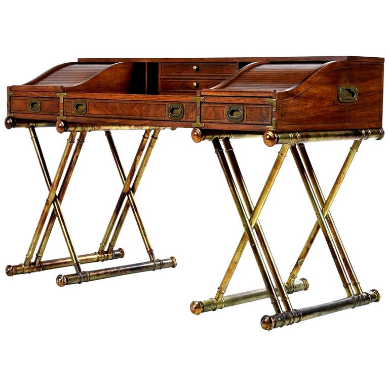 Oxford Square by Drexel Faux Brass Base Campaign Style Tambour Roll Top Desk For Sale