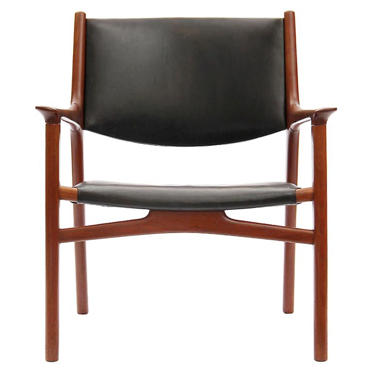 Oxhide Teak Lounge Chair by Hans J. Wegner