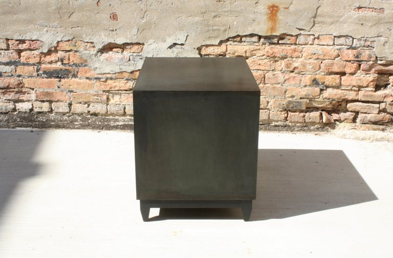 Blackened Oxide A Customizable Handmade Metal Side Cabinet or Nightstand by Laylo Studio
