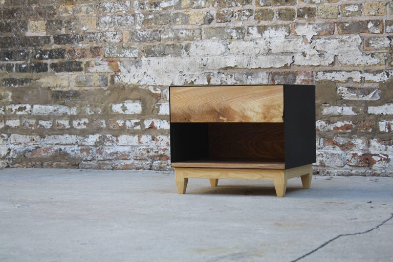 Oxide, Blackened Steel and Walnut Side Cabinets or Nightstands by Laylo Studio For Sale 4