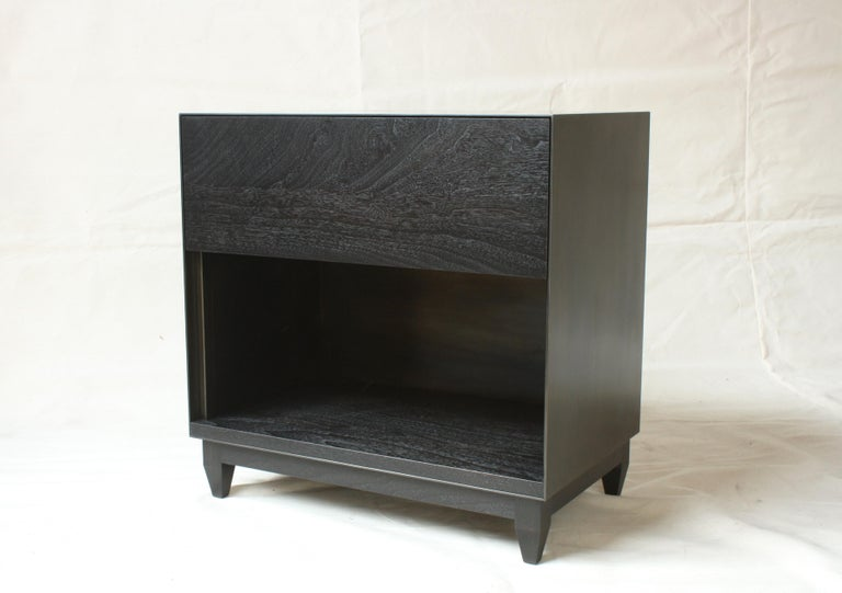 Modern Oxide, Blackened Steel and Walnut Side Cabinets or Nightstands by Laylo Studio For Sale