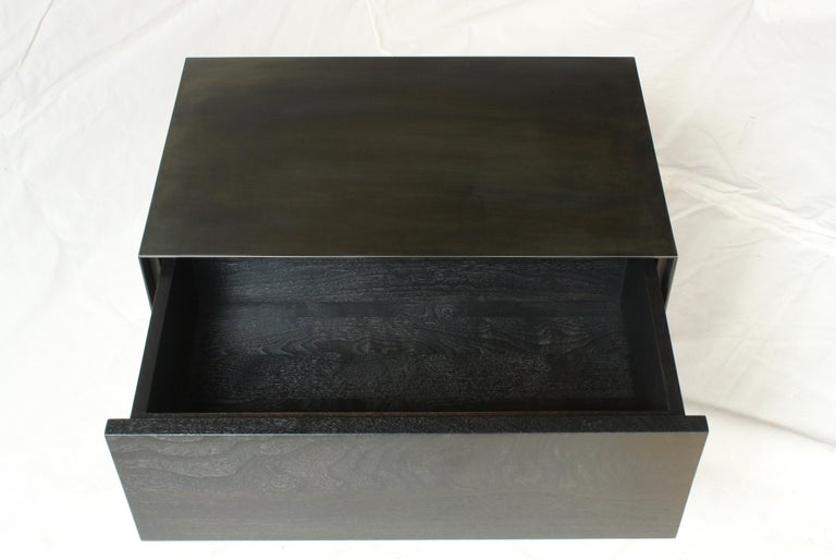 American Oxide, Blackened Steel and Walnut Side Cabinets or Nightstands by Laylo Studio For Sale
