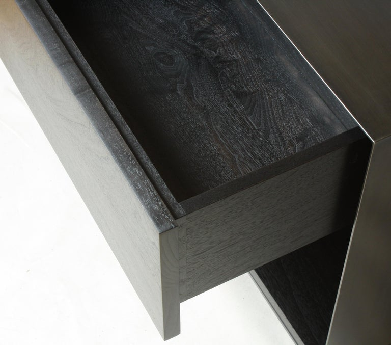Contemporary Oxide, Blackened Steel and Walnut Side Cabinets or Nightstands by Laylo Studio For Sale
