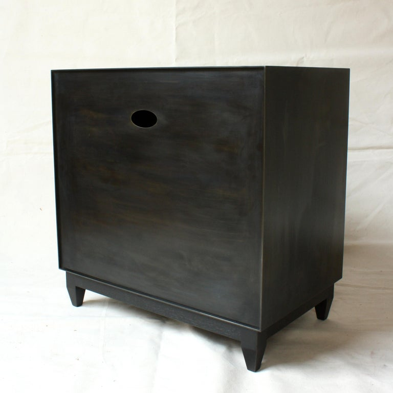 Oxide, Blackened Steel and Walnut Side Cabinets or Nightstands by Laylo Studio For Sale 1