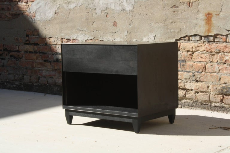 Oxide, Blackened Steel and Walnut Side Cabinets or Nightstands by Laylo Studio For Sale 2