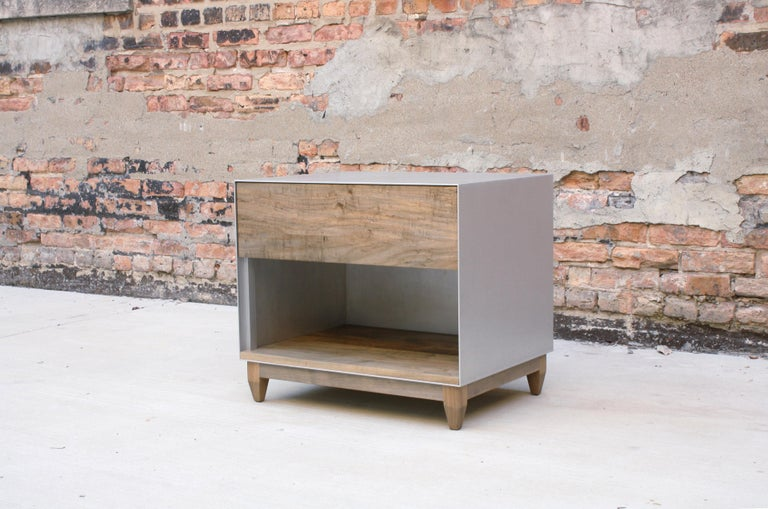 Oxide, Blackened Steel and Walnut Side Cabinets or Nightstands by Laylo Studio For Sale 3
