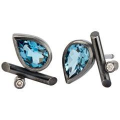 Oxidised Sterling Silver, London Blue Topaz, Diamonds Stud Pierced Earrings