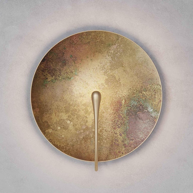 'Cosmic Oxidium' Mixed Colour Brass Patina Contemporary Wall Light, Sconce In New Condition For Sale In London, GB