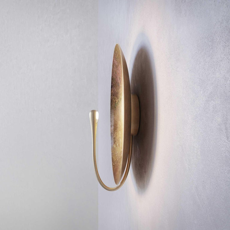 'Cosmic Oxidium' Mixed Colour Brass Patina Contemporary Wall Light, Sconce For Sale 2
