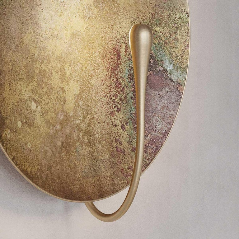 'Cosmic Oxidium' Mixed Colour Brass Patina Contemporary Wall Light, Sconce For Sale 5