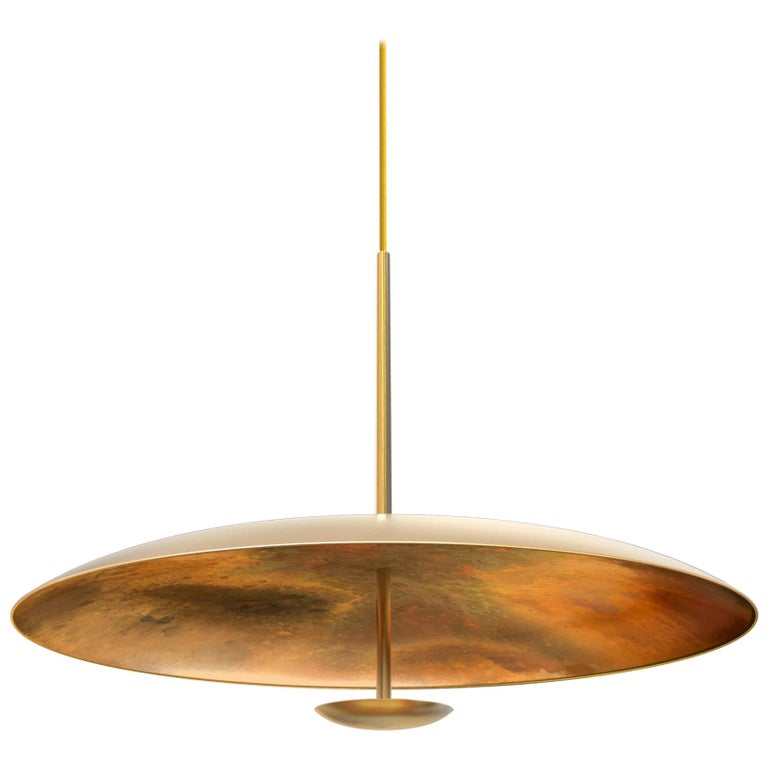 Oxidium Patinated Oxidised Aged Brass Pendant Ceiling Light, Chandelier For Sale