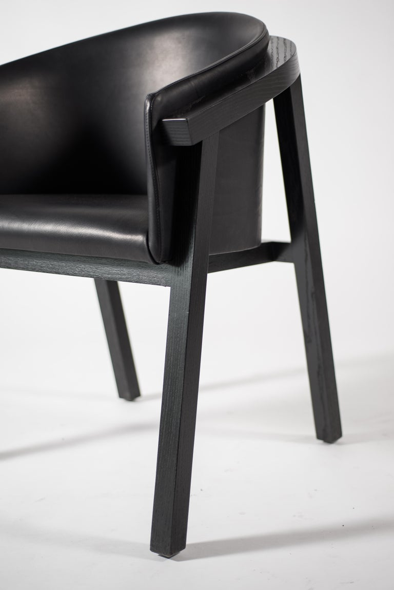 Oxidized Oak Bucket Dining Chair with Upholstered Leather Seat/Dining Chair GH3 For Sale 3