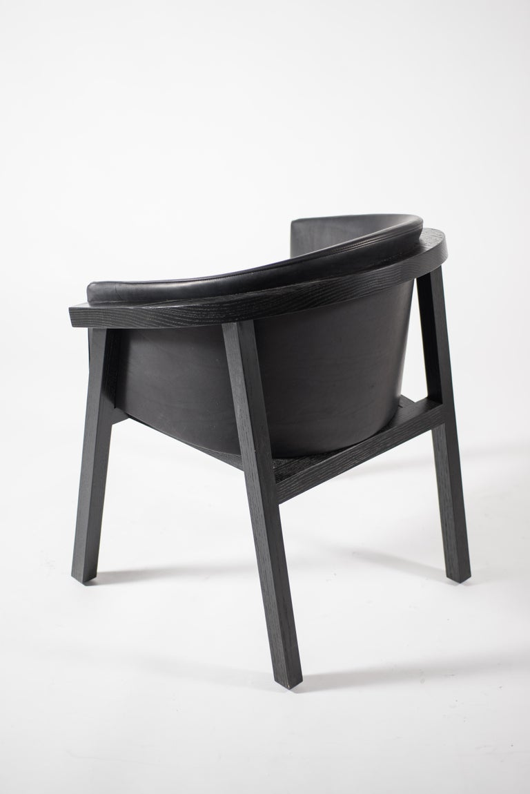 Oxidized Oak Bucket Dining Chair with Upholstered Leather Seat/Dining Chair GH3 For Sale 4