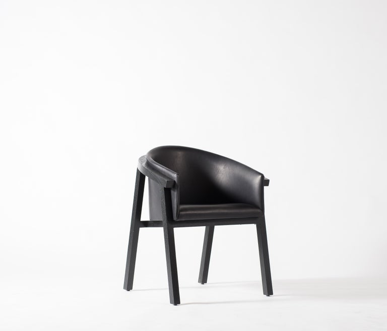 Modern Oxidized Oak Bucket Dining Chair with Upholstered Leather Seat/Dining Chair GH3 For Sale