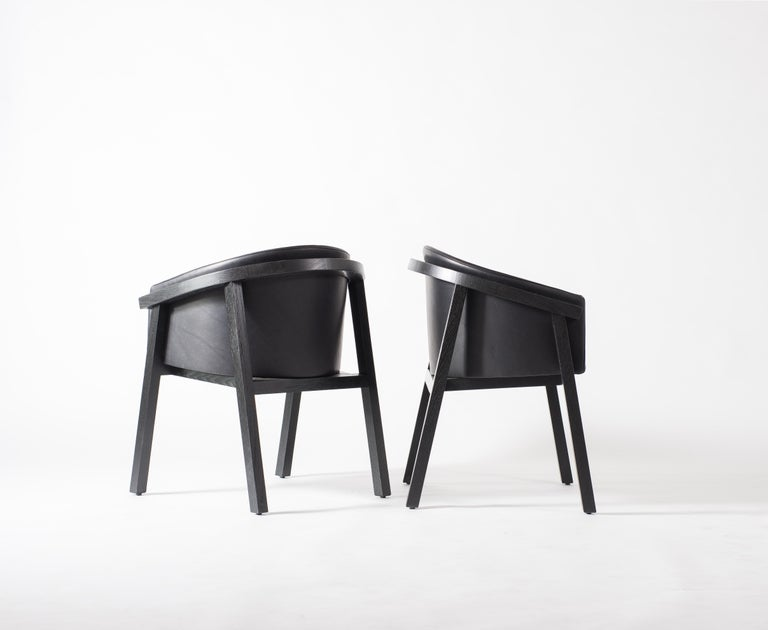 Blackened Oxidized Oak Bucket Dining Chair with Upholstered Leather Seat/Dining Chair GH3 For Sale
