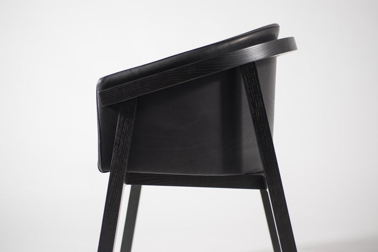 Oxidized Oak Bucket Dining Chair with Upholstered Leather Seat/Dining Chair GH3 For Sale 2