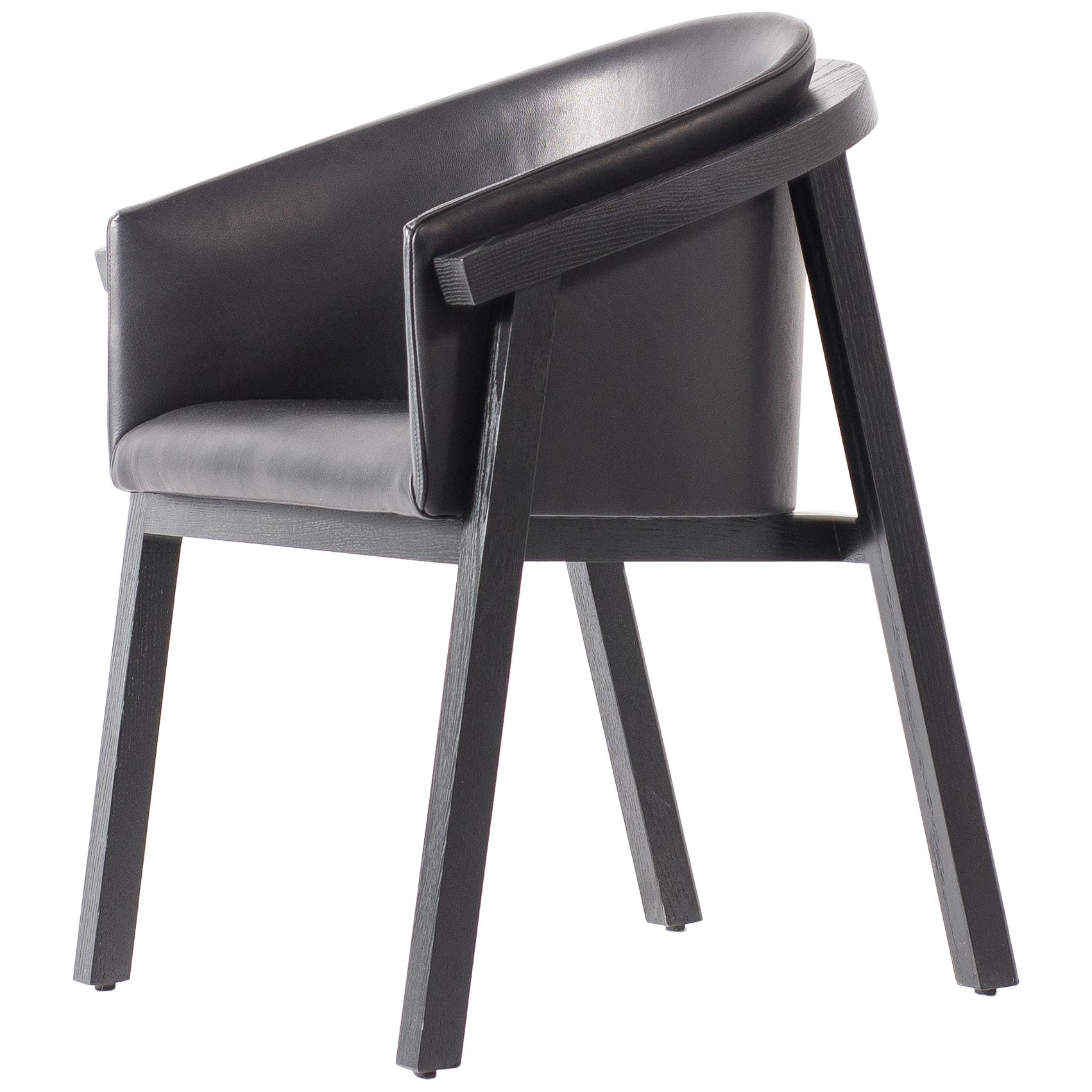 Oxidized Oak Bucket Dining Chair with Upholstered Leather Seat/Dining Chair GH3