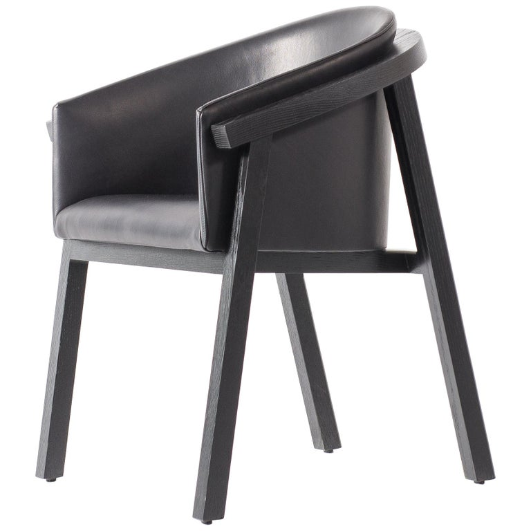 Oxidized Oak Bucket Dining Chair with Upholstered Leather Seat/Dining Chair GH3 For Sale