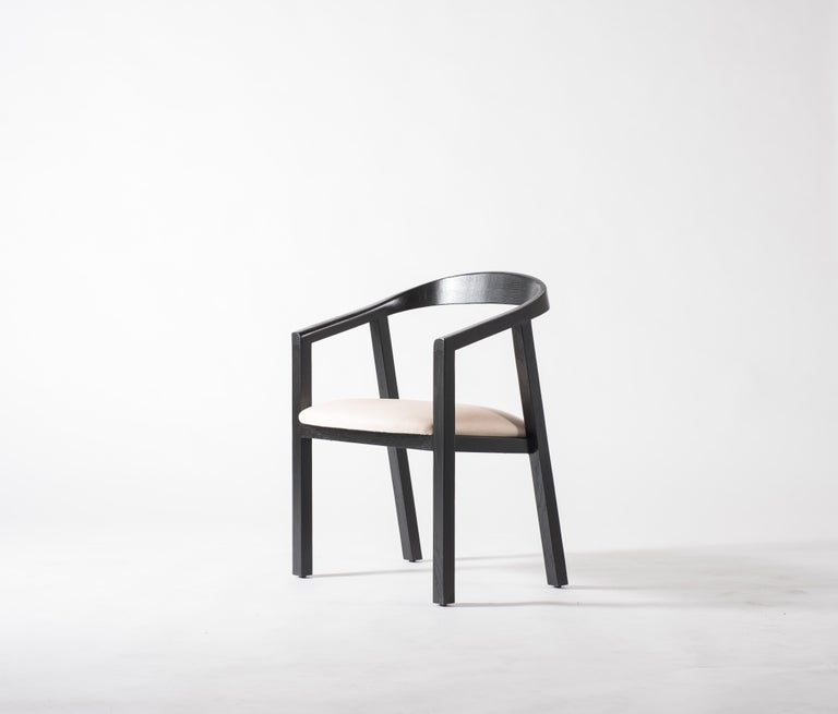Modern Oak Dining Chair in Black with Leather Seat / Dining Chair GH1 For Sale