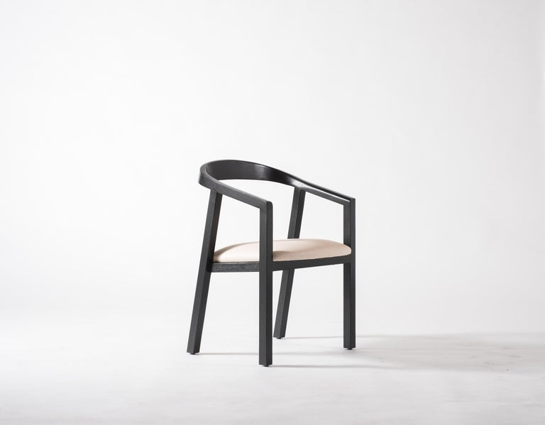 American Oak Dining Chair in Black with Leather Seat / Dining Chair GH1 For Sale