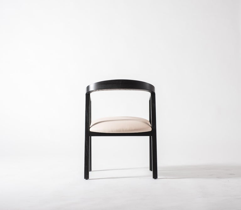 Blackened Oak Dining Chair in Black with Leather Seat / Dining Chair GH1 For Sale