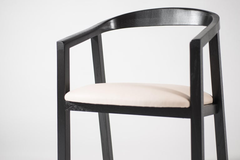 Oak Dining Chair in Black with Leather Seat / Dining Chair GH1 For Sale 1