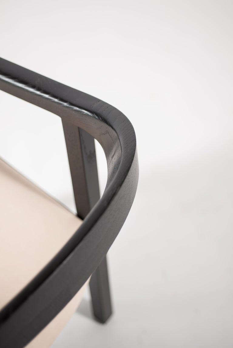 Oak Dining Chair in Black with Leather Seat / Dining Chair GH1 For Sale 2