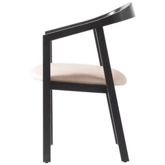 Oak Dining Chair in Black with Leather Seat / Dining Chair GH1