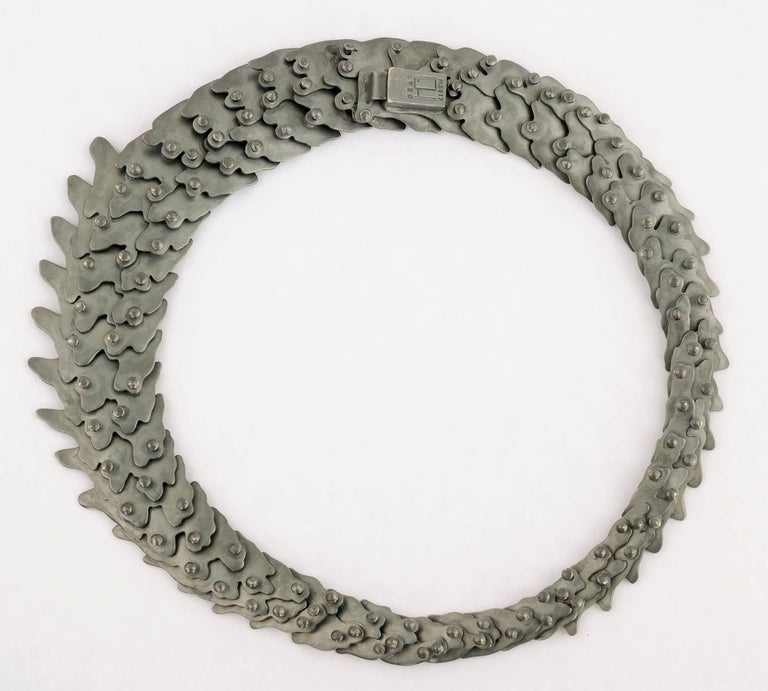 Women's or Men's Oxidized Silver Articulated Necklace For Sale