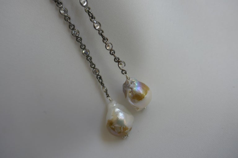 Contemporary Oxidized Silver Cubic Zirconia Chain Cultured Baroque Pearl Lariat Necklace For Sale