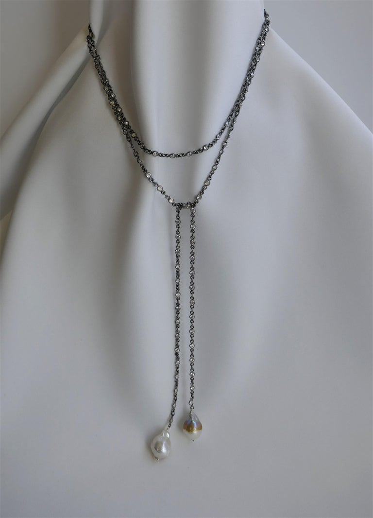 Oxidized Silver Cubic Zirconia Chain Cultured Baroque Pearl Lariat Necklace In New Condition For Sale In Coral Gables, FL